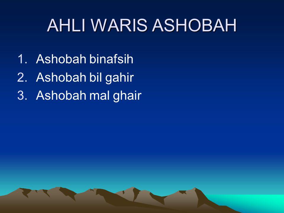 AHLI WARIS ASHOBAH Ashobah binafsih Ashobah bil gahir