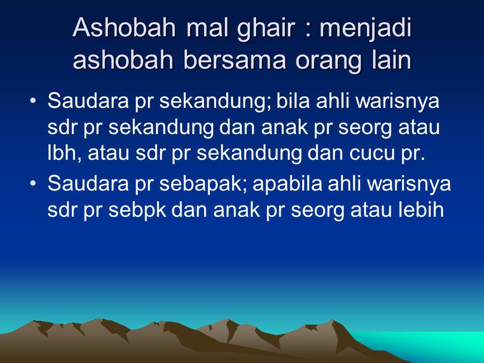 Ashobah mal ghair : menjadi ashobah bersama orang lain