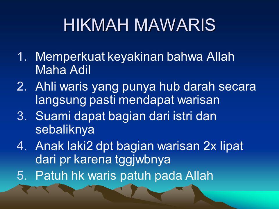 HIKMAH MAWARIS Memperkuat keyakinan bahwa Allah Maha Adil