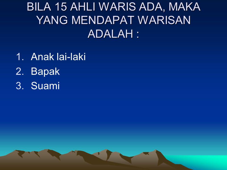 BILA 15 AHLI WARIS ADA, MAKA YANG MENDAPAT WARISAN ADALAH :