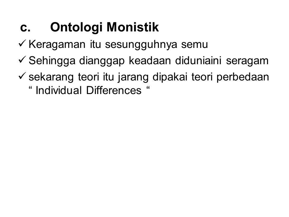Ontologi Monistik Keragaman itu sesungguhnya semu