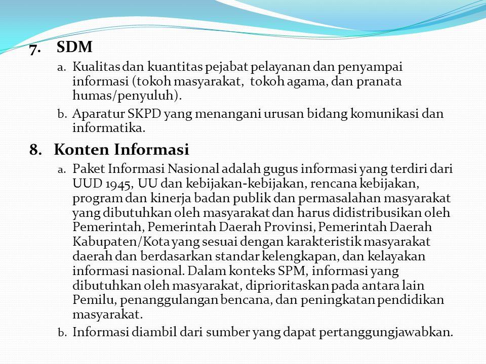 7. SDM Kualitas dan kuantitas pejabat pelayanan dan penyampai informasi (tokoh masyarakat, tokoh agama, dan pranata humas/penyuluh).