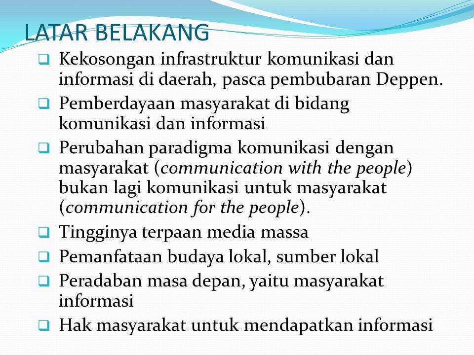 LATAR BELAKANG Kekosongan infrastruktur komunikasi dan informasi di daerah, pasca pembubaran Deppen.