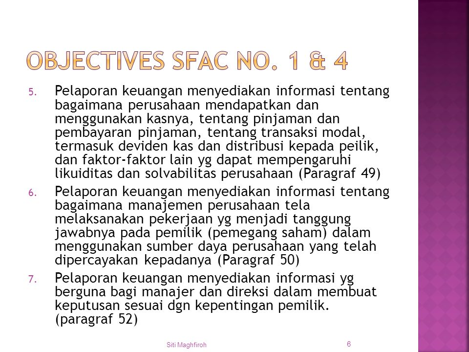Objectives SFAC No. 1 & 4