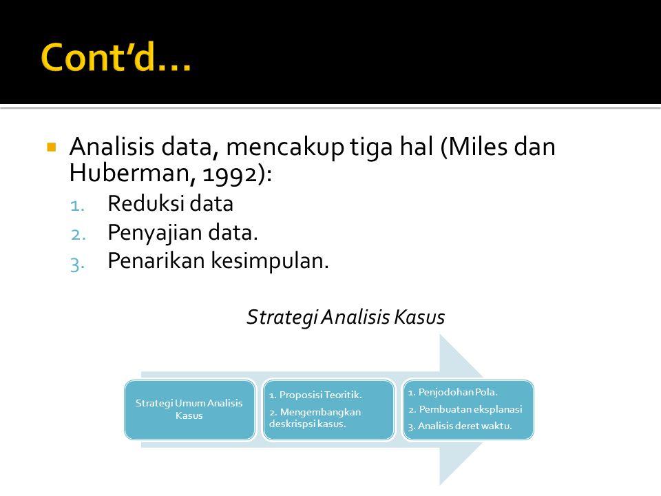 Cont'd... Analisis data, mencakup tiga hal (Miles dan Huberman, 1992):