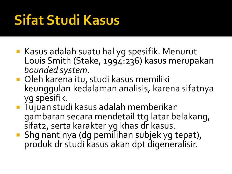Sifat Studi Kasus Kasus adalah suatu hal yg spesifik. Menurut Louis Smith (Stake, 1994:236) kasus merupakan bounded system.