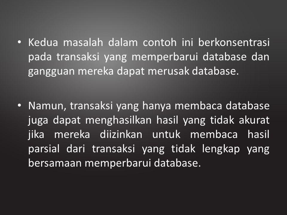Kedua masalah dalam contoh ini berkonsentrasi pada transaksi yang memperbarui database dan gangguan mereka dapat merusak database.