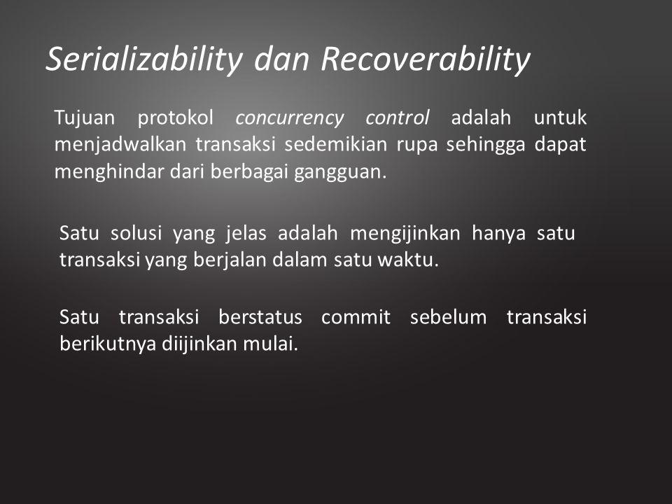 Serializability dan Recoverability