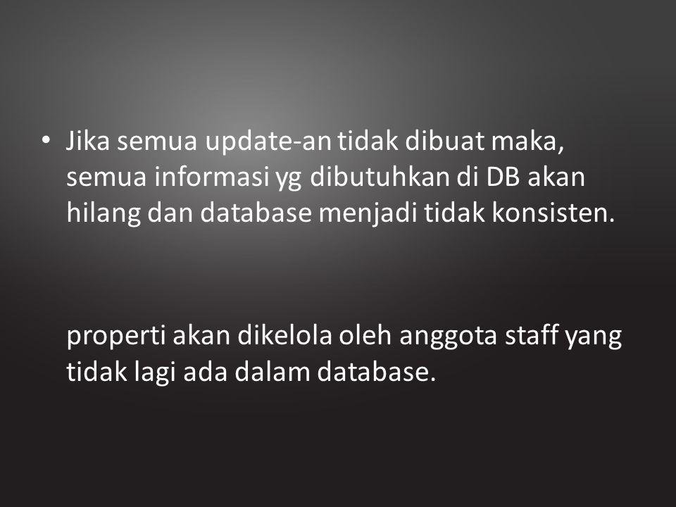 Jika semua update-an tidak dibuat maka, semua informasi yg dibutuhkan di DB akan hilang dan database menjadi tidak konsisten.