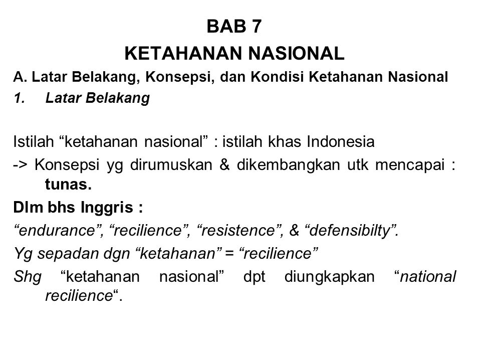 BAB 7 KETAHANAN NASIONAL