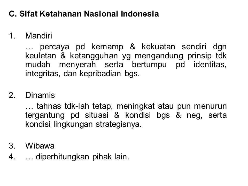 C. Sifat Ketahanan Nasional Indonesia