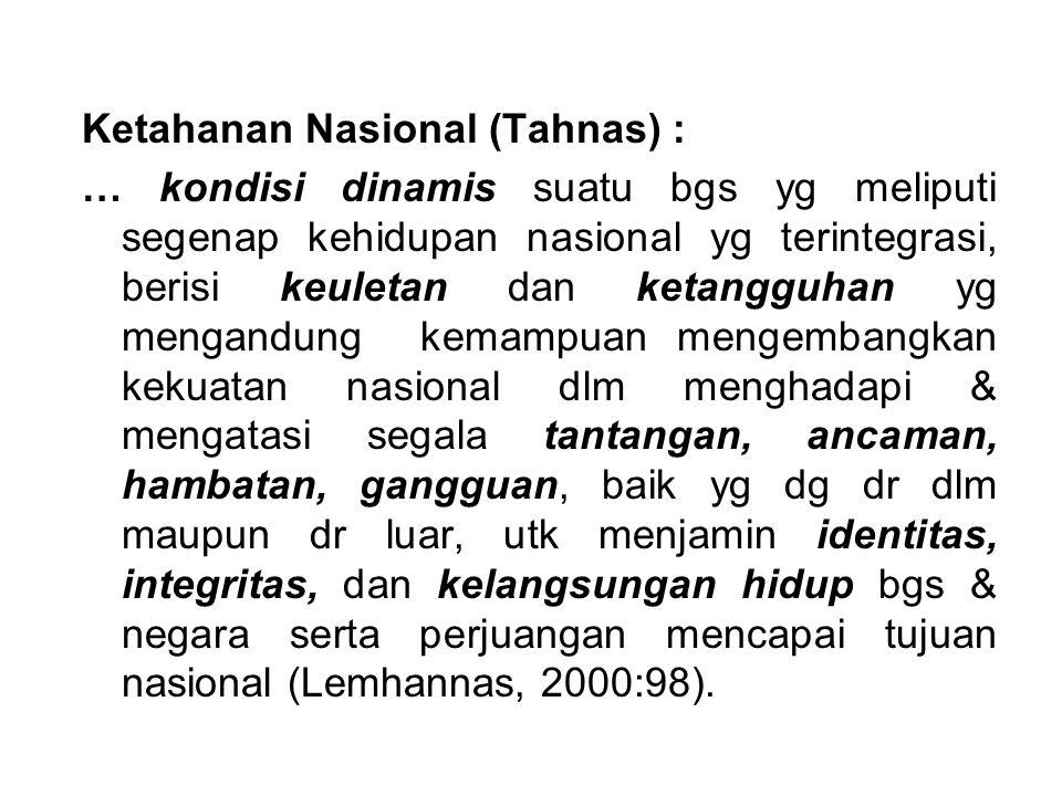 Ketahanan Nasional (Tahnas) :