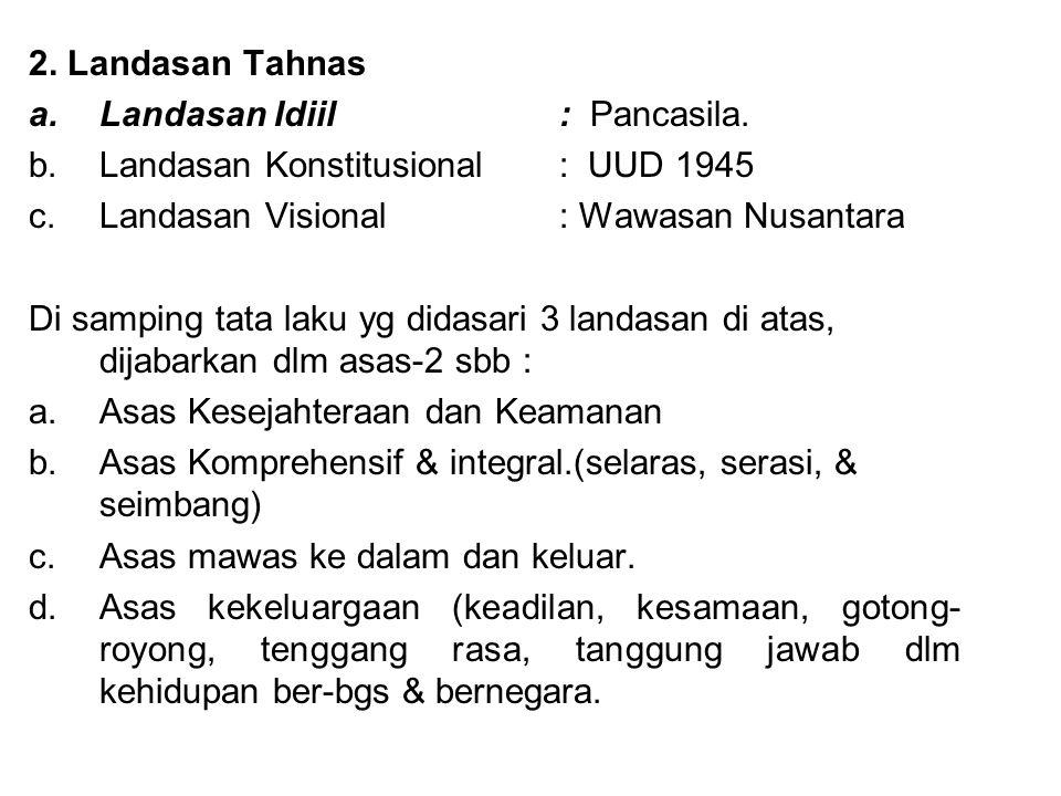 2. Landasan Tahnas Landasan Idiil : Pancasila. Landasan Konstitusional : UUD 1945. Landasan Visional : Wawasan Nusantara.