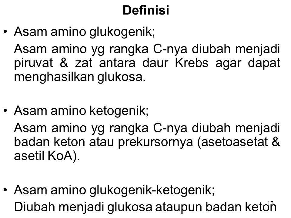 Definisi Asam amino glukogenik; Asam amino yg rangka C-nya diubah menjadi piruvat & zat antara daur Krebs agar dapat menghasilkan glukosa.