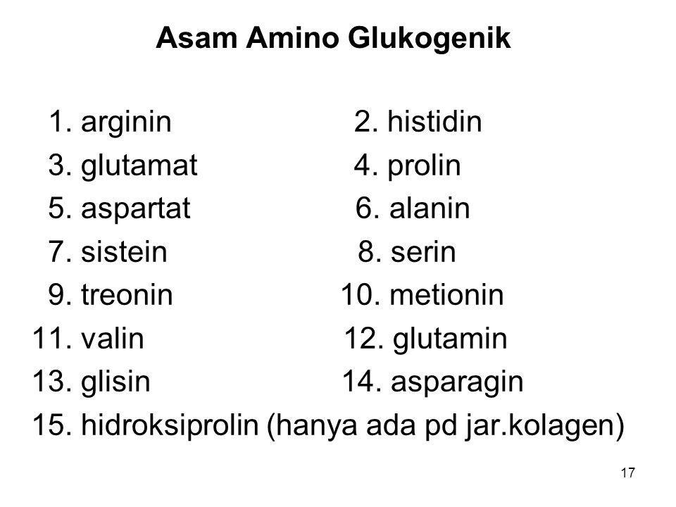 Asam Amino Glukogenik 1. arginin 2. histidin. 3. glutamat 4. prolin.