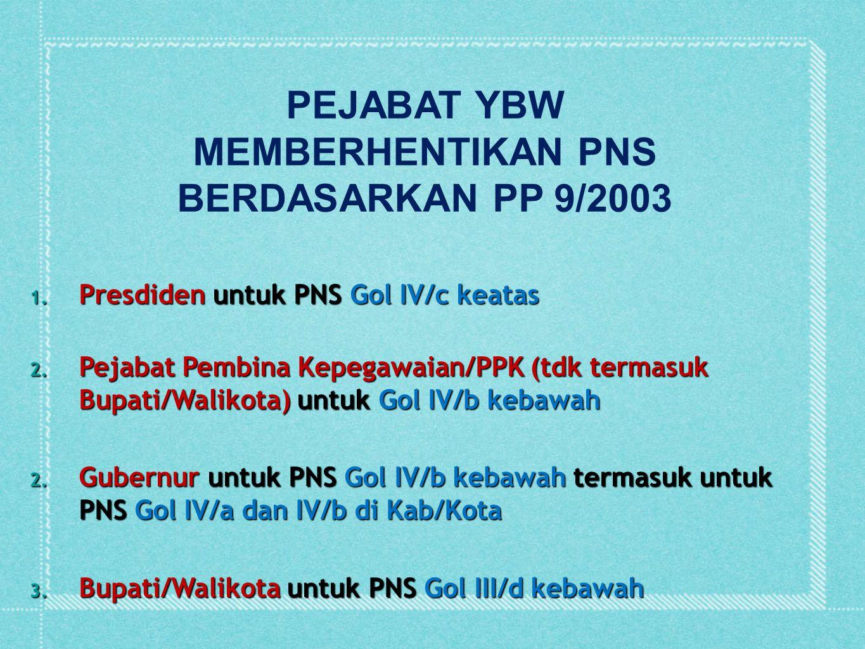 PEJABAT YBW MEMBERHENTIKAN PNS BERDASARKAN PP 9/2003