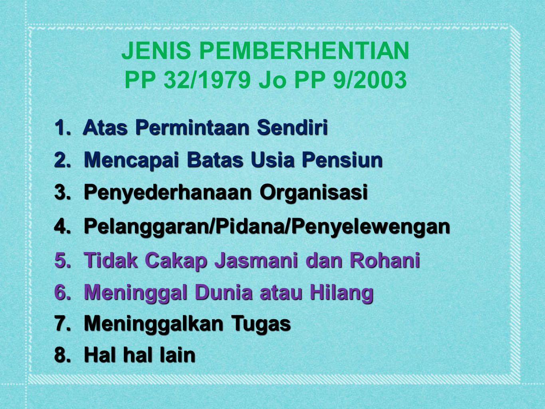 JENIS PEMBERHENTIAN PP 32/1979 Jo PP 9/2003