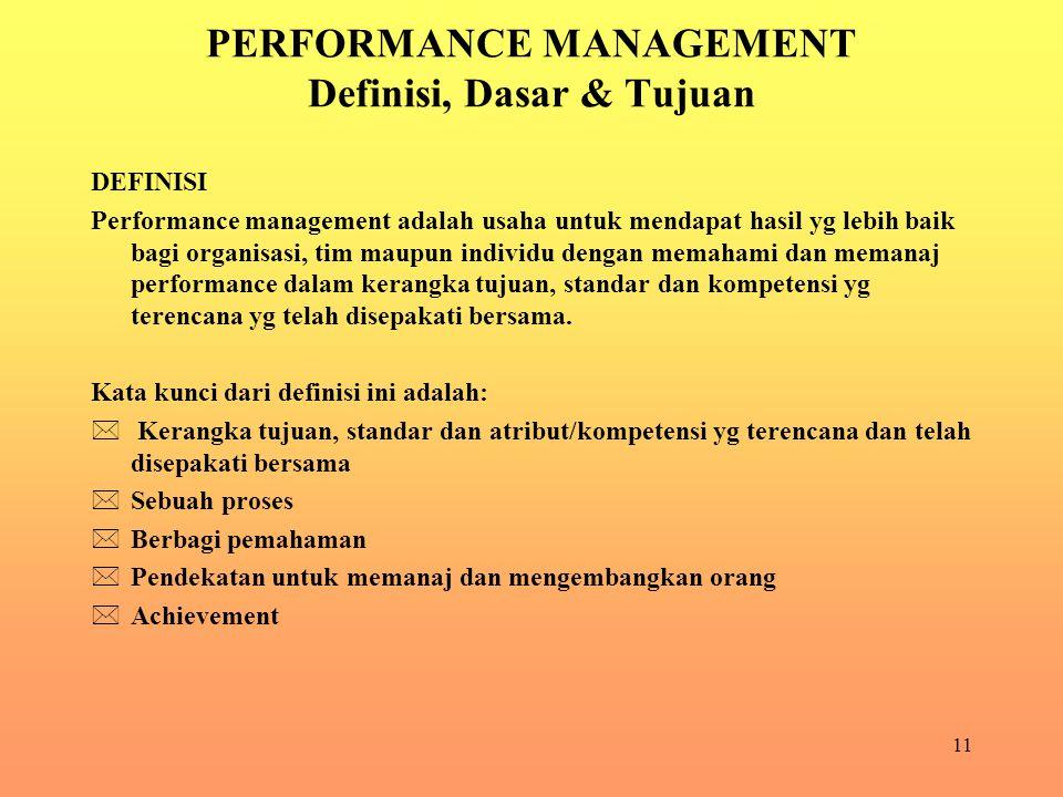 PERFORMANCE MANAGEMENT Definisi, Dasar & Tujuan