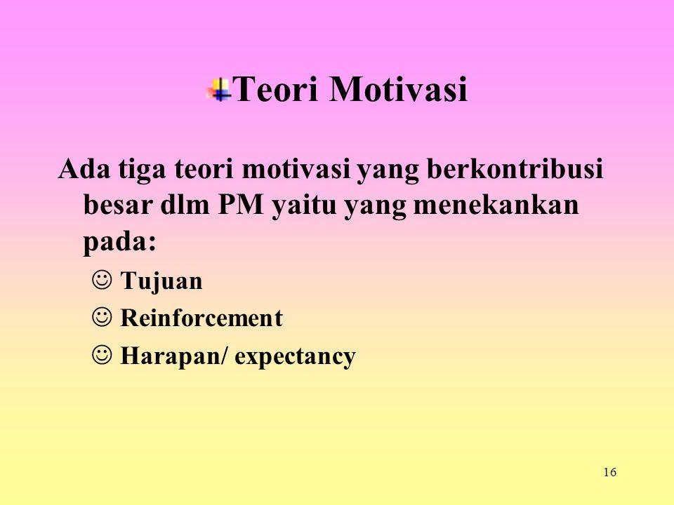 Teori Motivasi Ada tiga teori motivasi yang berkontribusi besar dlm PM yaitu yang menekankan pada: Tujuan.