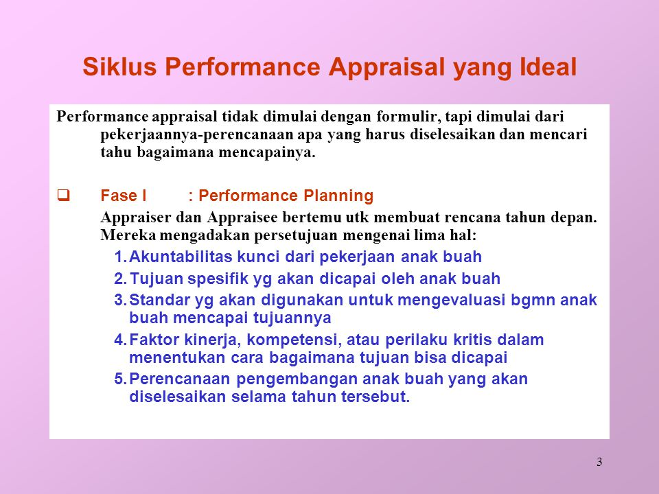 Siklus Performance Appraisal yang Ideal