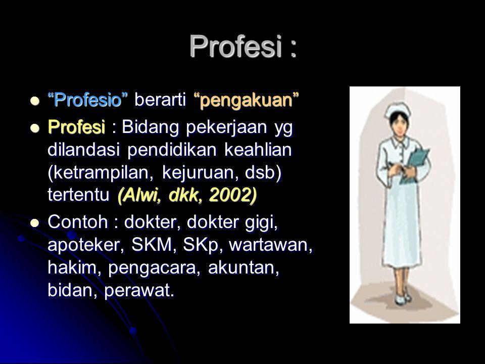Profesi : Profesio berarti pengakuan