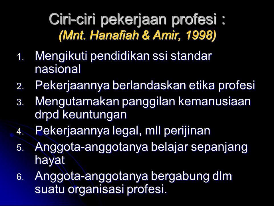 Ciri-ciri pekerjaan profesi : (Mnt. Hanafiah & Amir, 1998)