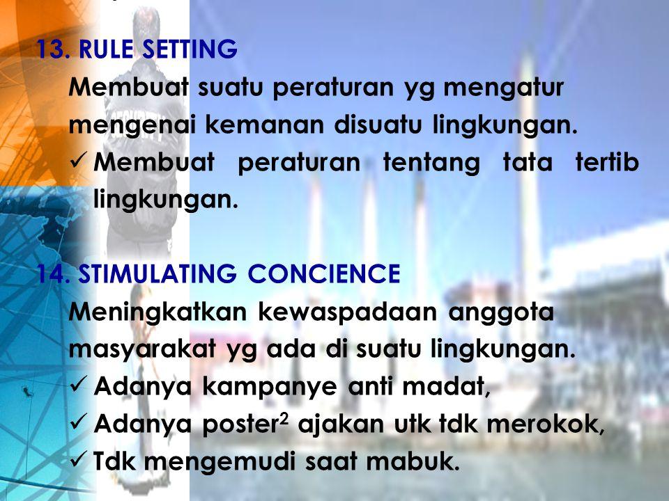 RULE SETTING Membuat suatu peraturan yg mengatur. mengenai kemanan disuatu lingkungan. Membuat peraturan tentang tata tertib lingkungan.