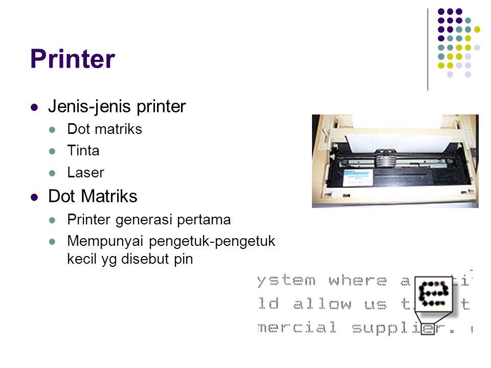 Printer Jenis-jenis printer Dot Matriks Dot matriks Tinta Laser