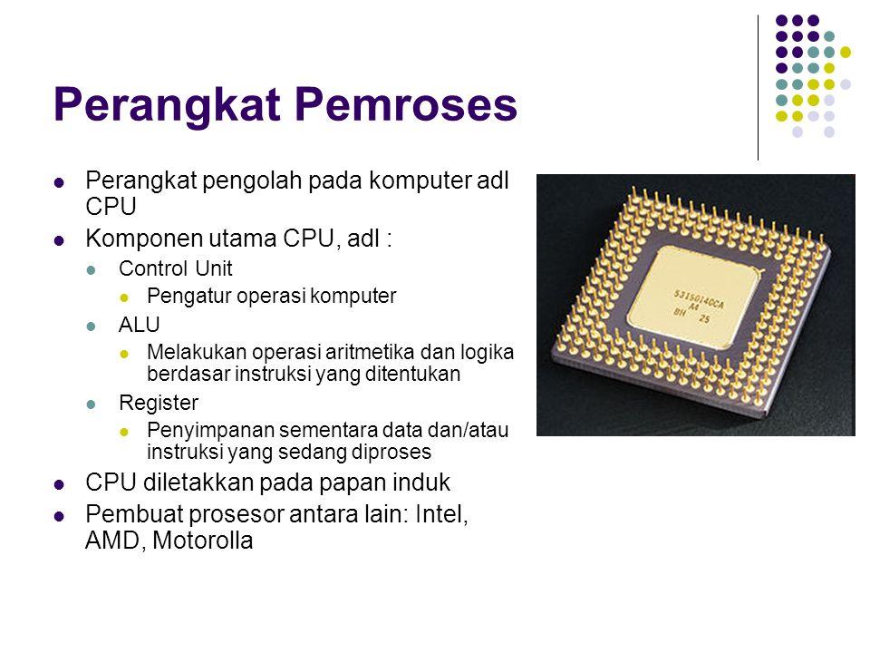 Perangkat Pemroses Perangkat pengolah pada komputer adl CPU