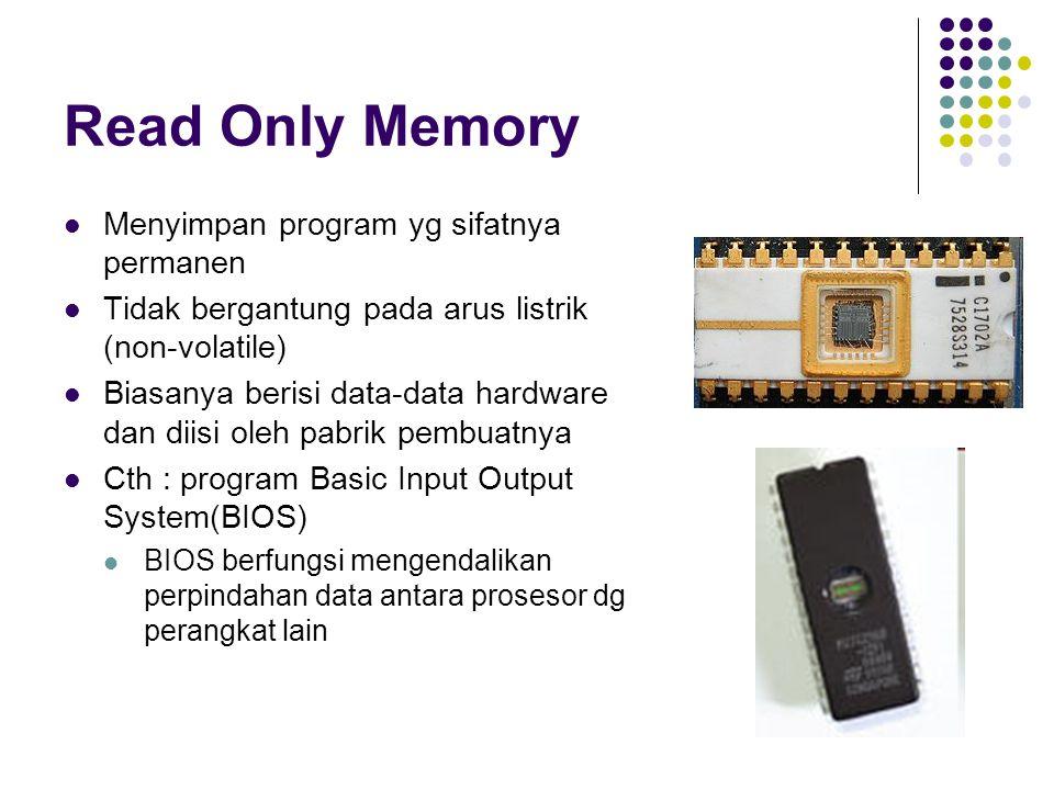 Read Only Memory Menyimpan program yg sifatnya permanen