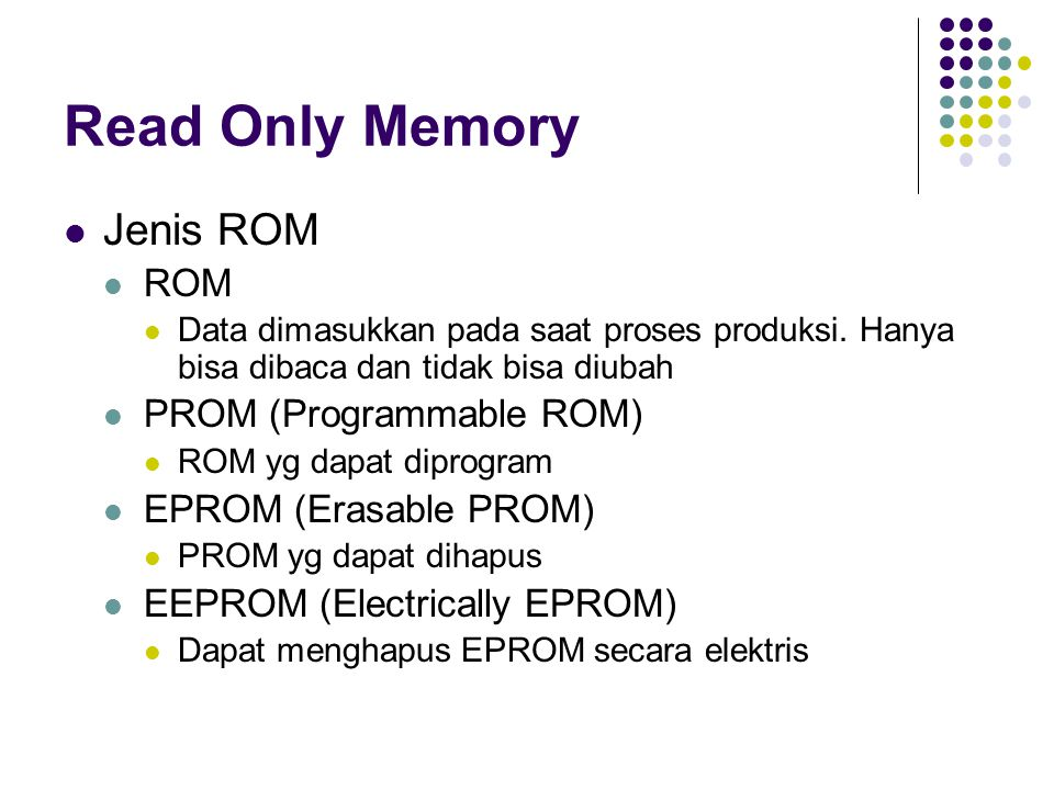 Read Only Memory Jenis ROM ROM PROM (Programmable ROM)