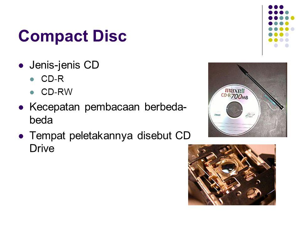 Compact Disc Jenis-jenis CD Kecepatan pembacaan berbeda-beda