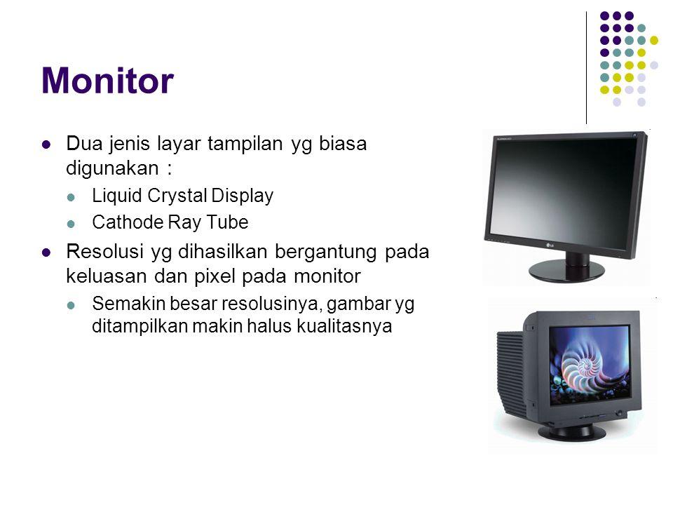 Monitor Dua jenis layar tampilan yg biasa digunakan :