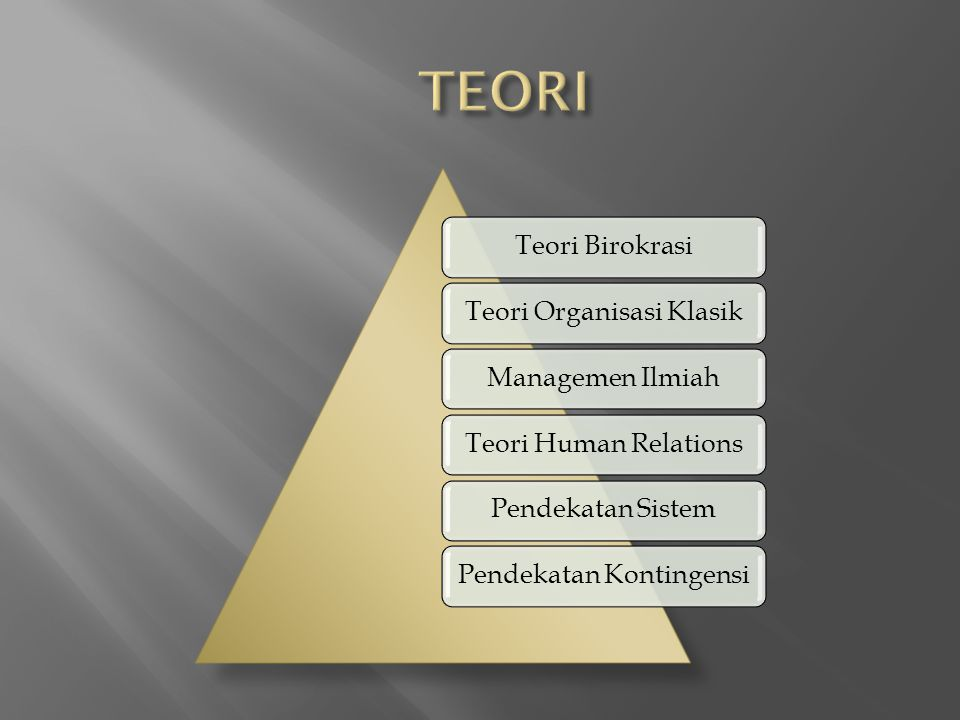 TEORI Teori Birokrasi Teori Organisasi Klasik Managemen Ilmiah
