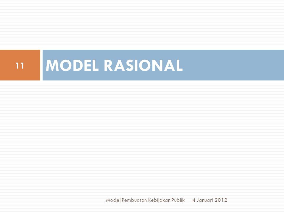 MODEL RASIONAL Model Pembuatan Kebijakan Publik 4 Januari 2012