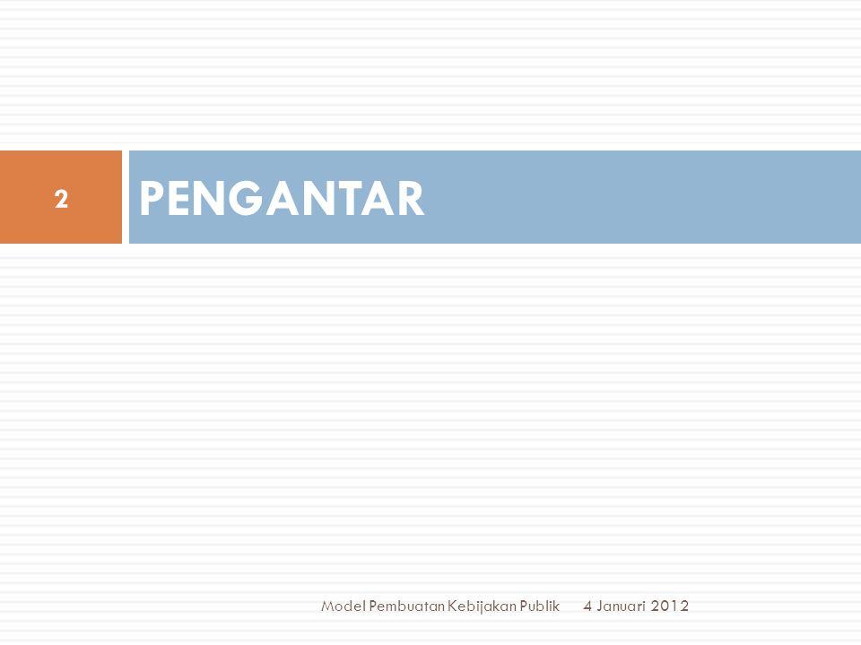 PENGANTAR Model Pembuatan Kebijakan Publik 4 Januari 2012