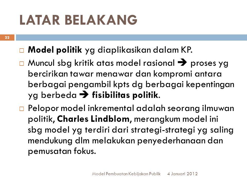 LATAR BELAKANG Model politik yg diaplikasikan dalam KP.