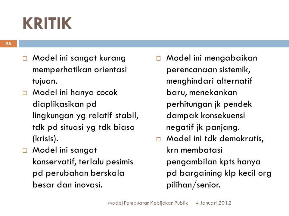 KRITIK Model ini sangat kurang memperhatikan orientasi tujuan.