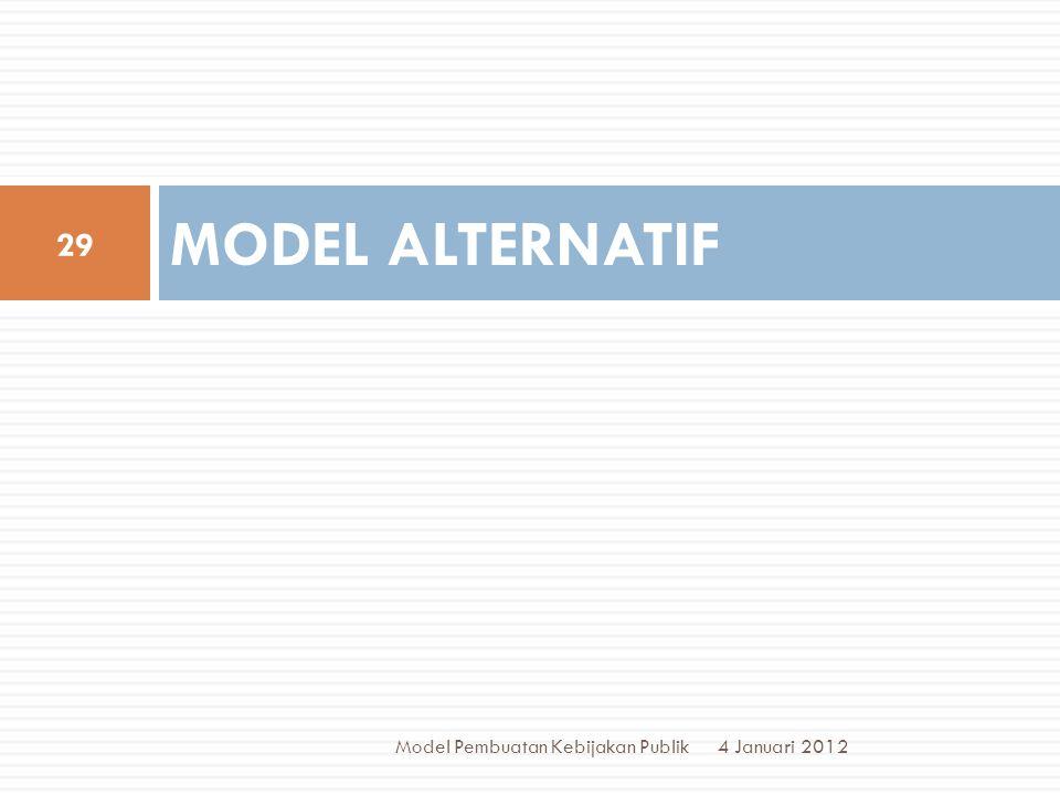 MODEL ALTERNATIF Model Pembuatan Kebijakan Publik 4 Januari 2012