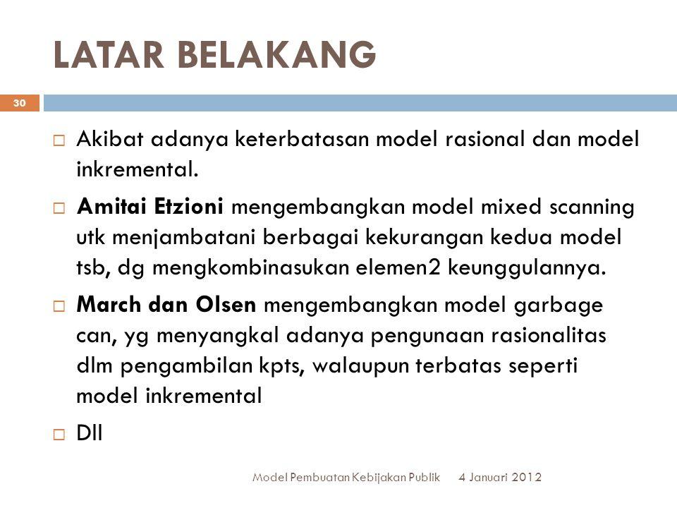 LATAR BELAKANG Akibat adanya keterbatasan model rasional dan model inkremental.
