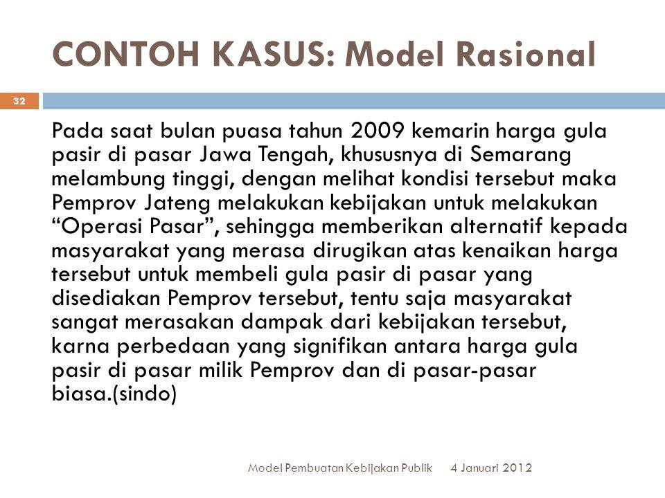 CONTOH KASUS: Model Rasional