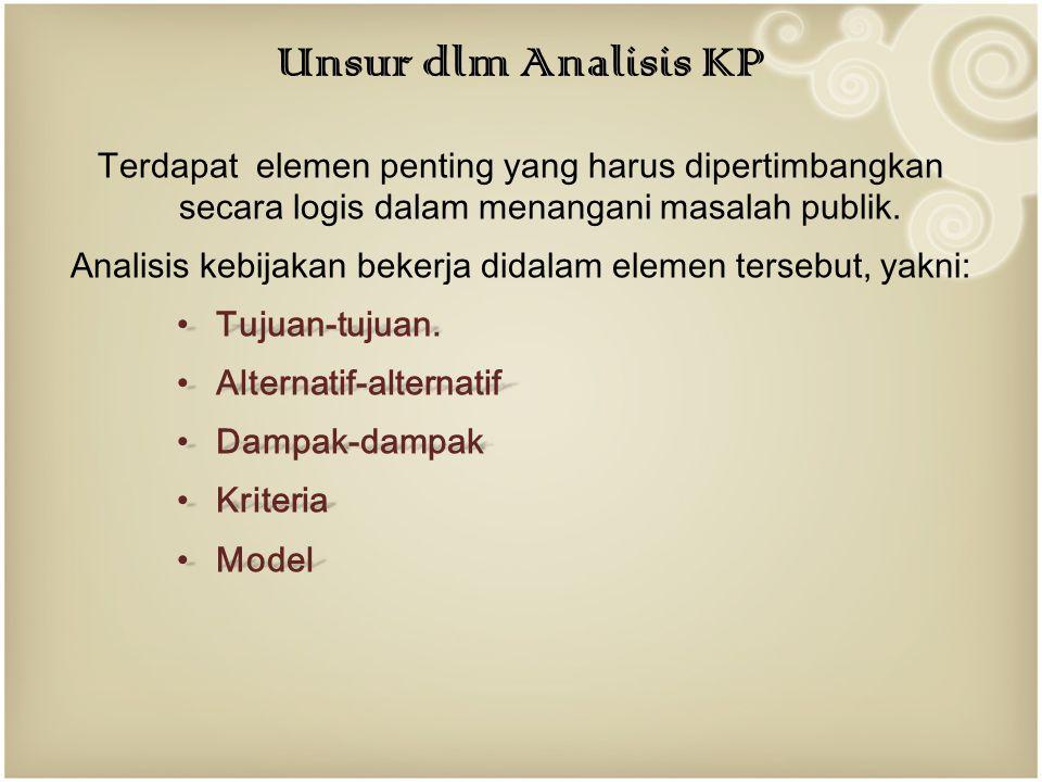Analisis kebijakan bekerja didalam elemen tersebut, yakni: