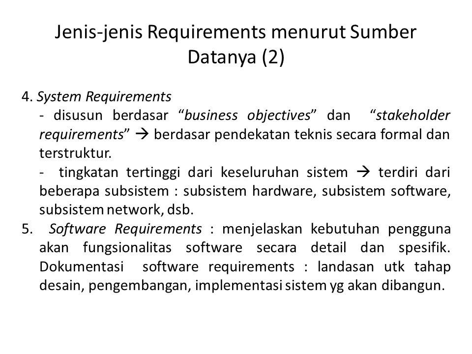 Jenis-jenis Requirements menurut Sumber Datanya (2)