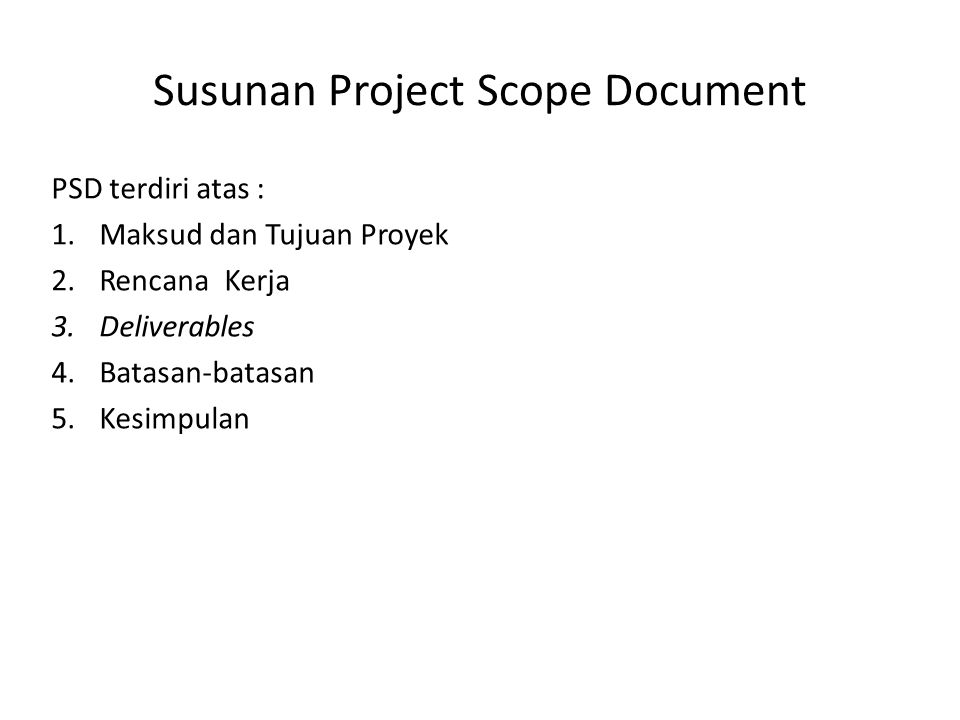 Susunan Project Scope Document