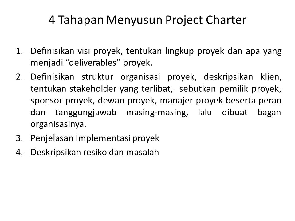 4 Tahapan Menyusun Project Charter