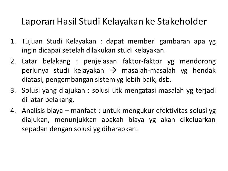 Laporan Hasil Studi Kelayakan ke Stakeholder
