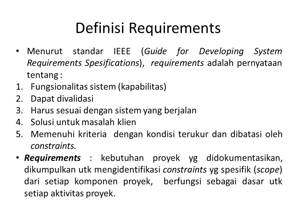 Definisi Requirements