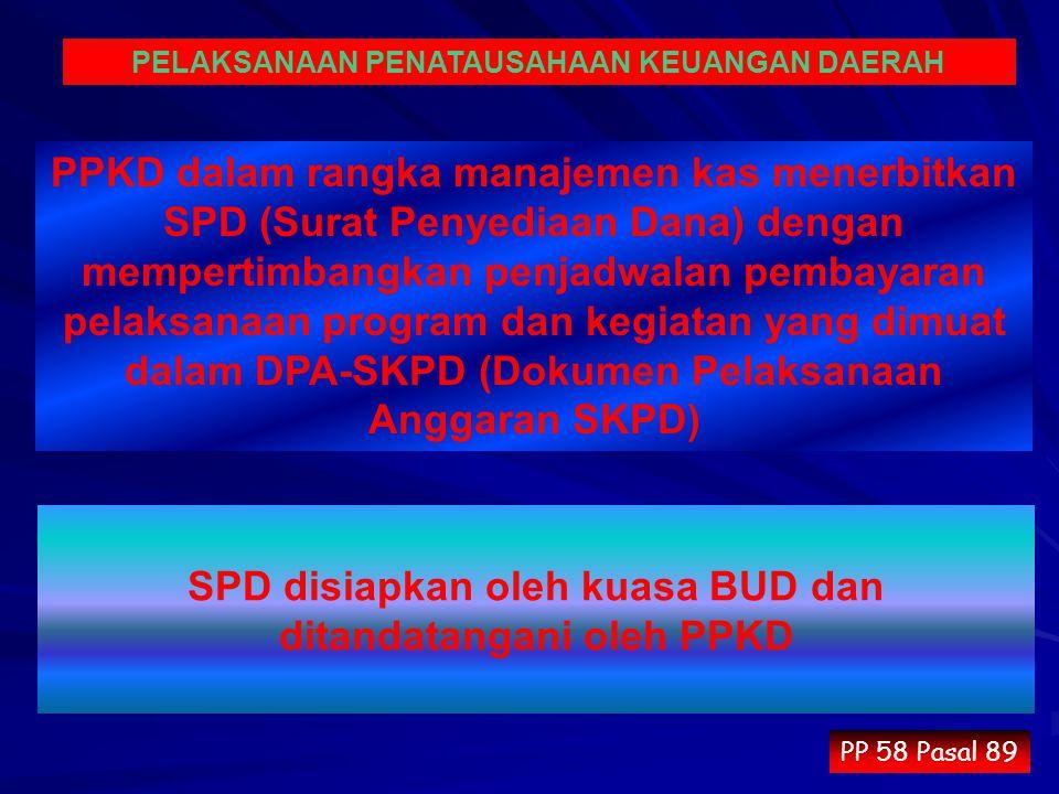 SPD disiapkan oleh kuasa BUD dan ditandatangani oleh PPKD