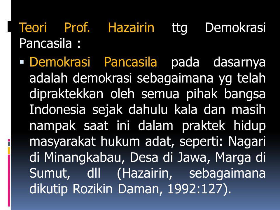 Teori Prof. Hazairin ttg Demokrasi Pancasila :