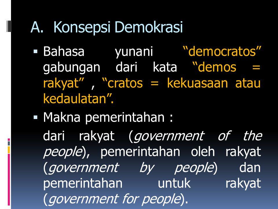 Konsepsi Demokrasi Bahasa yunani democratos gabungan dari kata demos = rakyat , cratos = kekuasaan atau kedaulatan .